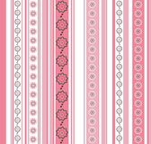 Seamless striped pattern with floral motif. With zentangle flower garlands Stock Images