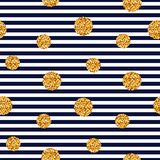 Seamless striped pattern with glitter dots. Striped background with gold glitter circles. Vector seamless pattern Stock Photo