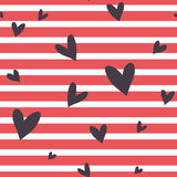 Seamless  striped pattern with hearts. Stock Photos