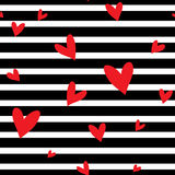 Seamless  striped pattern with hearts. Stock Photo
