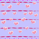 Seamless striped pattern with hearts Royalty Free Stock Photo