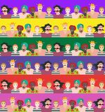 Seamless striped pattern with men and women of different ages, races and nationalities. Can be used for poster, card, invitation, placard, brochure, flyer Royalty Free Stock Image