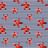 Seamless striped pattern with starfish Stock Photo