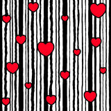 Seamless striped pattern Valentine`s Day. Vertical black lines Royalty Free Stock Images