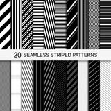 Seamless striped patterns. 20 seamless striped patterns. Black and white texture. Vector striped collection Royalty Free Stock Images