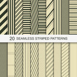 20 seamless striped patterns. Set of vector striped patterns. 20 seamless patterns for your design and ideas Royalty Free Stock Photo