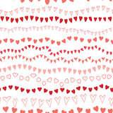 Seamless striped pink hearts pattern design on white. Vector seamless striped pink hearts pattern design on white. Cute background for Saint Valentines day Stock Images