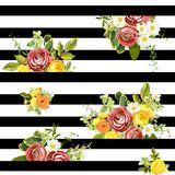Seamless striped style floral pattern. Vector illustration Stock Images