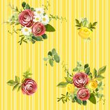 Seamless striped style floral pattern. Vector illustration Royalty Free Stock Photo