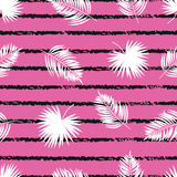 Seamless striped tropical pattern with palm leaves. Vector trendy pattern Royalty Free Stock Images