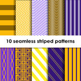 10 Seamless striped vector patterns. White, brown, yellow and lilac texture stock illustration