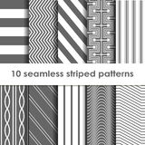 10 Seamless striped vector patterns Royalty Free Stock Photo