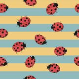 Seamless striped yellow and blue background with ladybugs. Seamless background with ladybugs. Hand drawing illustration Stock Photo