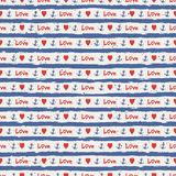 Seamless stripes pattern with hearts and anchors Stock Photography
