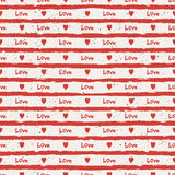 Seamless stripes pattern with hearts. Vector illustration Royalty Free Stock Photography