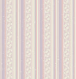 Seamless stripes pattern with leaves Stock Images