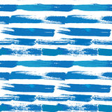 Seamless stripes pattern with lines and ink splashes in blue col Royalty Free Stock Photography
