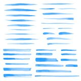 Set of vector watercolor blue brush strokes, lines, stripes