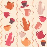 Seamless stripy pattern with tea and coffee items Stock Photos