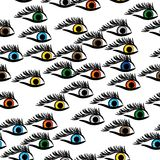 Seamless structure with multi-colored eyes Stock Photography