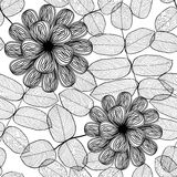 Seamless stylish black and white floral pattern Stock Photo
