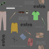 Seamless stylish clothes and attributes hipster Stock Image
