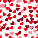 Seamless stylish red pattern with hearts. Vector illustration Royalty Free Stock Photography