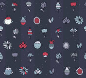 Seamless stylish  texture with colorful doodle flowers, simple, handdrawn on dark blue background. Pattern drawn with brush Royalty Free Stock Photos