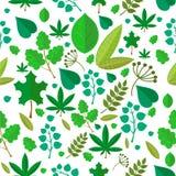 Seamless stylized green leaf pattern background stock illustration