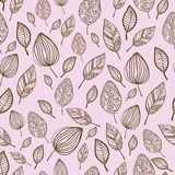 Seamless stylized hand drawn leaf pattern with. Ornament. Texture with leaves in pink pastel backdrop Stock Images