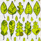 Seamless stylized leaf pattern on colored backgrou Royalty Free Stock Photography