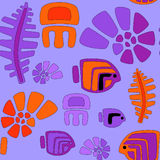 Seamless stylized tribal pattern with aquatic animals and seaweeds. Seamless pattern in bright colors with stylized tribal fishes, seaweeds, jellyfish and shells Stock Photography