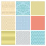 Seamless Subtle geometric background set. Royalty Free Stock Images