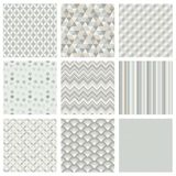 Seamless Subtle Geometric Hipster Background Set. Royalty Free Stock Photos