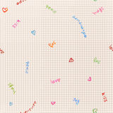 Seamless subtle watercolor doodle pattern. Seamless subtle laconic watercolor doodle pattern in love theme Royalty Free Stock Photo