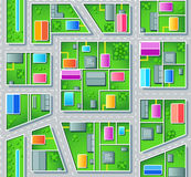 Seamless suburb plan. Seamless city suburb plan with houses, trees and roads