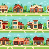 Seamless suburban houses. Panoramic cityscape with house exterior, buildings and town road flat vector background set stock illustration