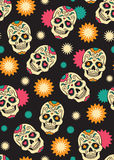 Seamless with sugar skulls. Seamless with mexican sugar skulls for day of the dead Stock Photo