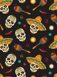 Seamless with sugar skulls Stock Image