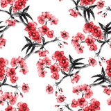 Seamless sumi-e sakura pattern. Stock Photography