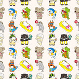 Seamless summer animal pattern. Cartoon vector illustration Royalty Free Stock Images