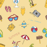Seamless summer background with elements drawn with a hand Stock Photo