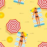 Seamless summer background. girl sunbathing on the beach, beach umbrellas, hats, slates. Template for fabric, wrapping paper, back vector illustration