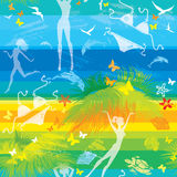 Seamless summer beach pattern with people Stock Photography