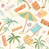 Seamless summer beach pattern. Stock Image