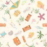 Seamless summer beach pattern. Royalty Free Stock Image
