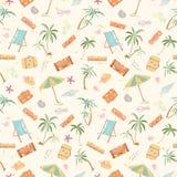 Seamless summer beach pattern. Stock Photo