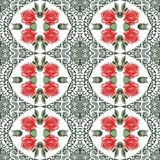 Seamless summer botanical flower roses and lace pattern. Style shabby chic, boho, provence. Red, green, white colors. Stock Image