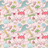 Seamless Summer Doodle. Pattern with Stripes and Animals Royalty Free Stock Photography