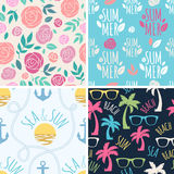 Seamless summer floral and holidays patterns set Royalty Free Stock Photography